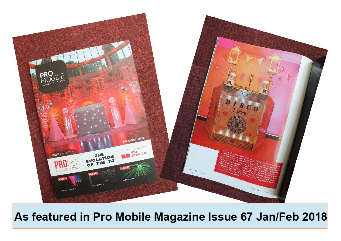 DJ Gavin Vaclavik's retro Vintage disco booth as featured in Pro Mobile Magazine 2018